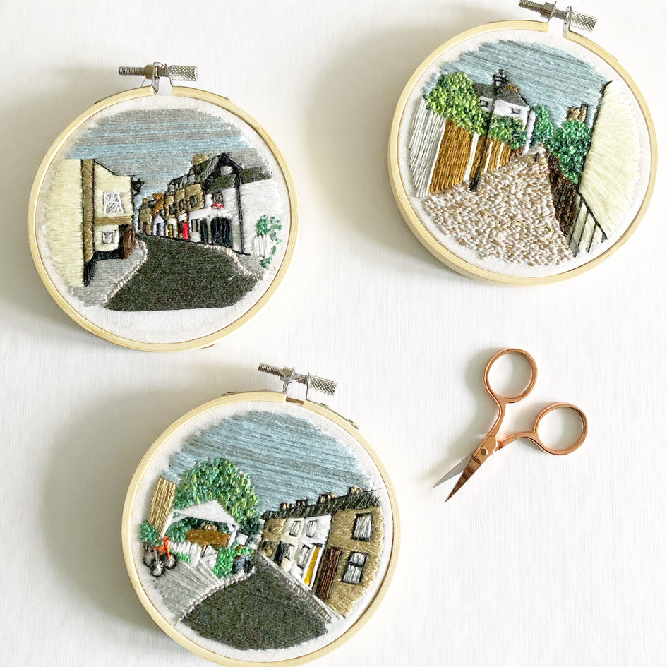 embroidered views of Old Leigh by Lauren Stranks