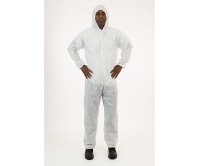 White SMS Coverall with Hood, Large, case of 25