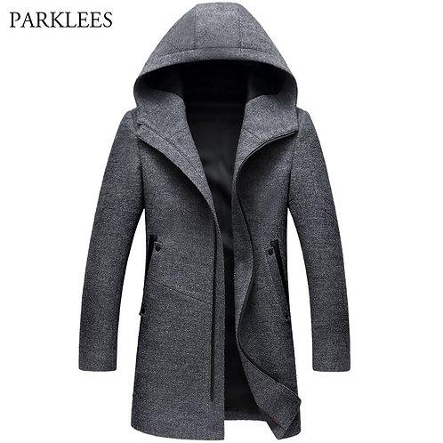 Men's Wool Coats Jackets Winter Cashmere Hooded Jacket