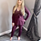 Thumbnail: Wine Knit Ribbed Belted Co-ord