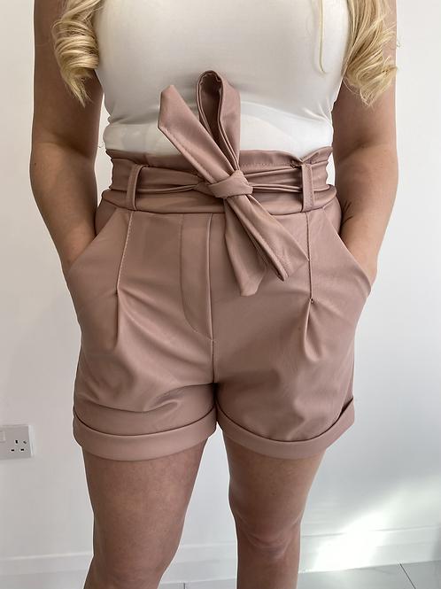 Nude Leatherette Tie Waist Shorts