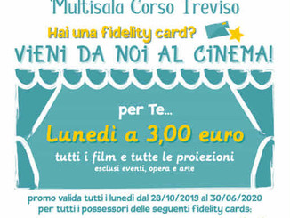 Film a soli 3 euro dopo lo shopping: l'idea del Multisala Corso