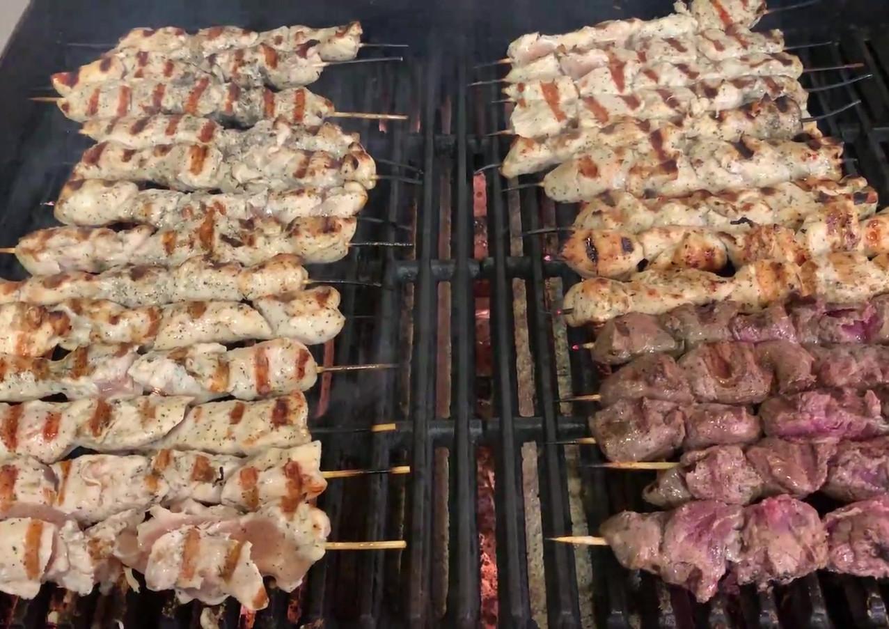 Chicken and Steak Souvlaki Grilling