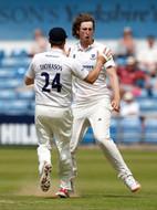 Atkins, Jamie celebrates wkt of Lyth (bo