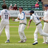 The umpires dismiss bump-ball claims; the catch is given. Yorkshire wi. Ballance is chuffed!