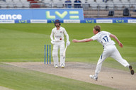 Bohannon chips one just wide of bowler,
