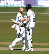 Adam Lyth congrat by Joe Root on his 100