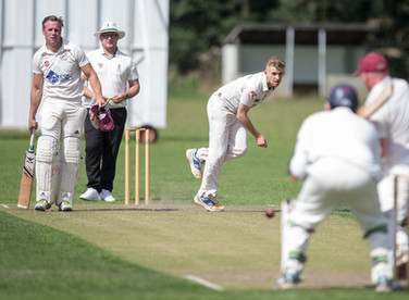 Rob Heald, Chad's opening bowler in action at Bardsey