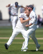 ADam Lyth helps Ben Coad celebrate wkt o