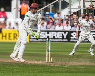 Bresnan run out by direct throw from Dom