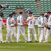 Lyth gets a cuddle for his wicket of Steve Davies, lbw