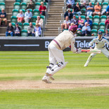 Here it is. Lyth bowled, Janie Overton hits in the air, straight to Carl Karver.