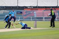 Run out via deflection off Rashid. Unlucky!