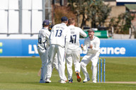 4) Beth celebrates bowling Haines for 86