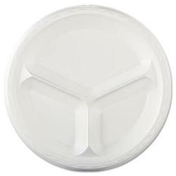 707159 - 10in foam 3 compartment plate