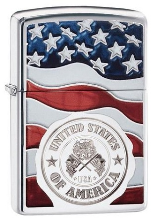 483992 - ZIPPO LIGHTER USA EMBLEM CHROME