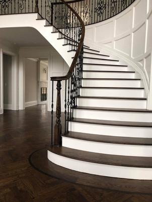 Herringbone Pattern White Oak Hardwood Floor installed by Oldfield Flooring