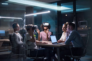 Multiethnic Business team using virtual
