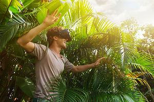 man in gray T-shirt, virtual reality 3D
