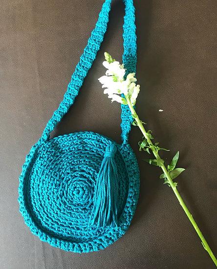 Crochet cotton lined summer bag