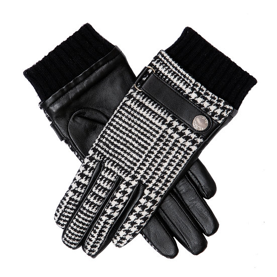 Dents Houndstooth and leather ladies glove