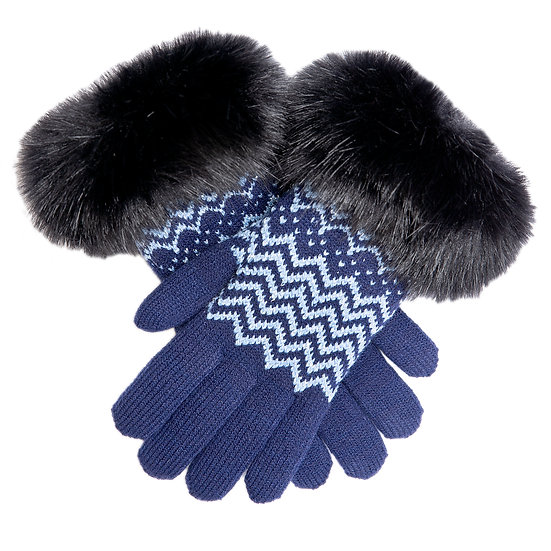 Dents knitted glove with faux fur cuff and chenille lining