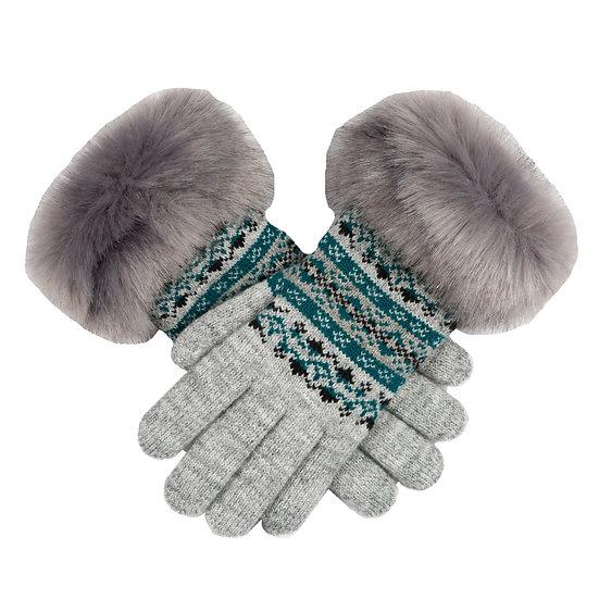 Dents Fairisle glove with faux fur cuff