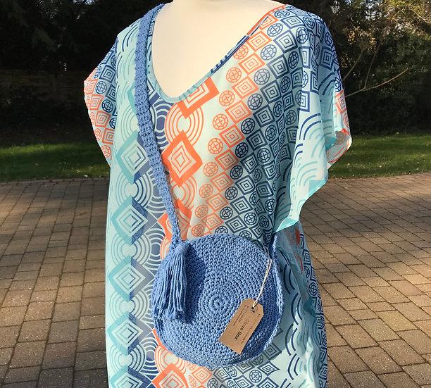 Sm/Med crochet cotton lined summer bag