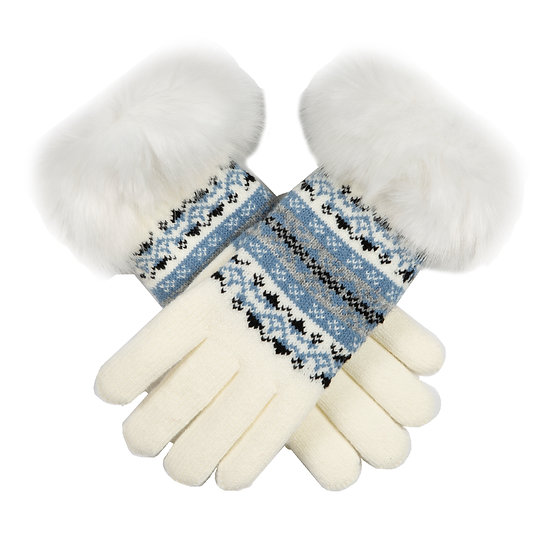Dents knitted glove with faux fur cuff