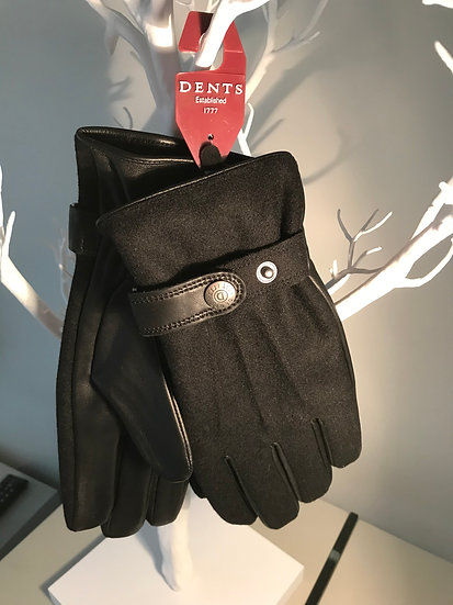 Mens leather and flannel Dents glove