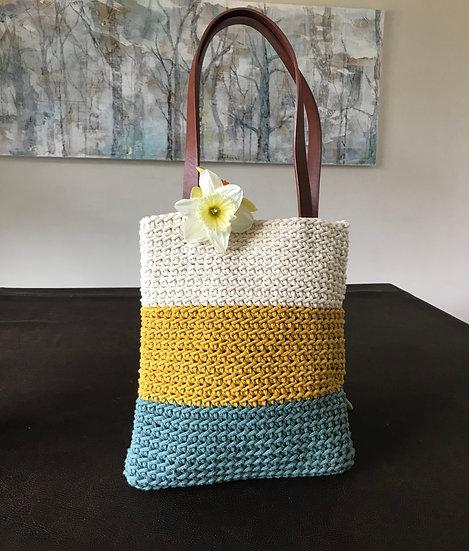 Crocheted hand or shoulder summer bag