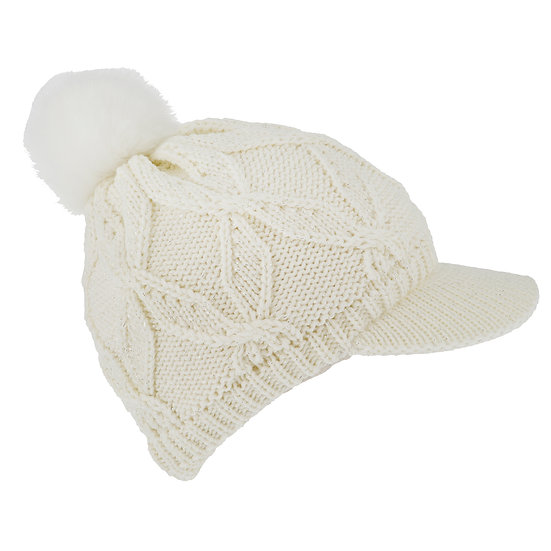 Dents chenille lined knitted peak hat