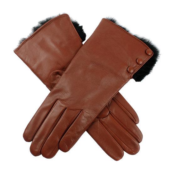 Dents 'Sophie' ladies leather / fur cuff glove