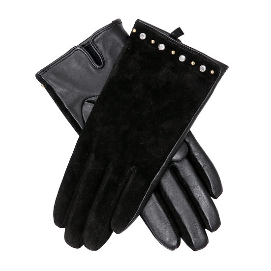 Dents ladies leather and suede glove