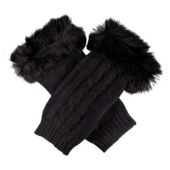 Dents fingerless cable knit with faux fur cuff