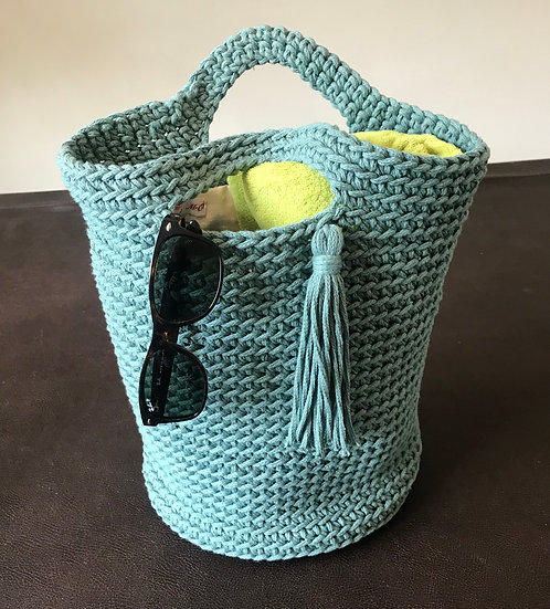 Crocheted cotton large summer tote bag