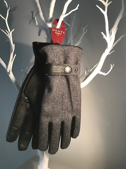 Mens leather& flannel Dents Glove