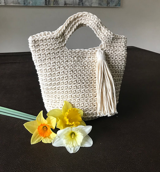 Crocheted cotton summer small tote bag