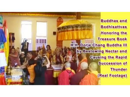 Buddhas and Bodhisattvas Honoring the Treasure Book H.H. Dorje Chang Buddha III by Bestowing Nectar