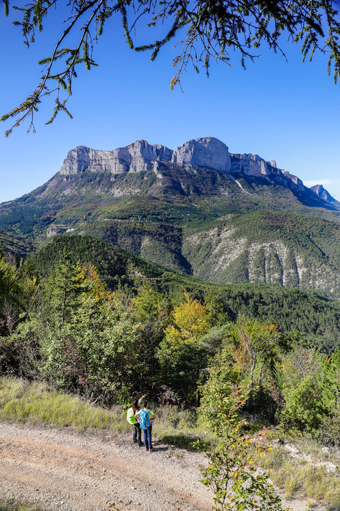 Chemin forestier - La Chaudière - Vue sur les 3 Becs