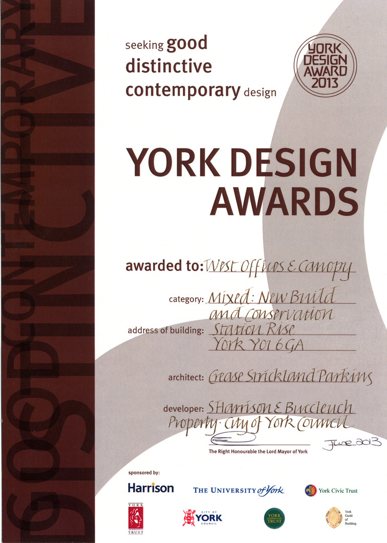 York Design Award New Build and Conserva