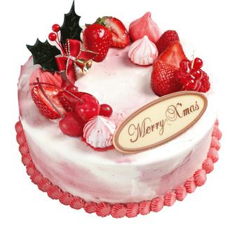 ピンクのクリスマスデコレーションケーキ