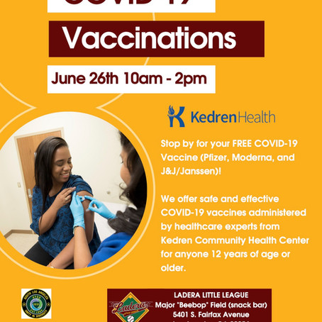 Covid Vaccination Opportunity: June 26th, 2021!