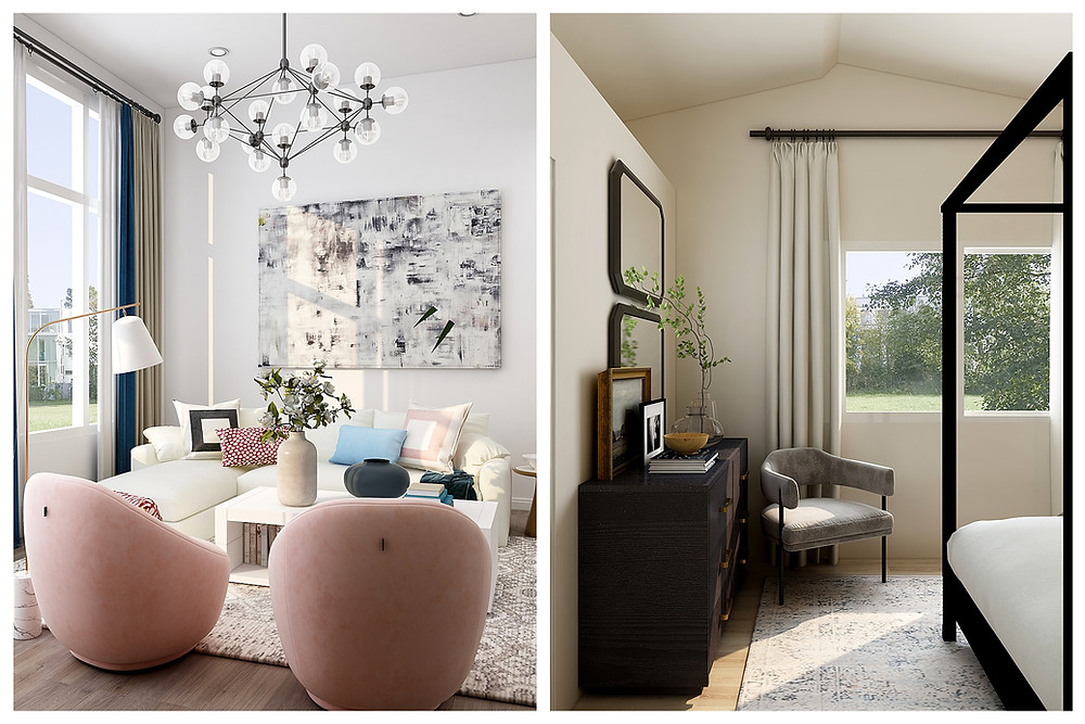 Left: Two blush-colored modular plush chairs sit facing a white couch covered in patterned pillows. A modern light fixture hangs from the ceiling, with lightbulbs pointing in all directions. Light spills in through the side window, and olive, blue, and white curtains are swept to one side. A vase of eucalyptus sits on the white coffee table. Right: A grey mid-century chair sits by an open window next to the pulled-back white curtains. It is a sunny day. A light patch spills onto the grey patterned rug next to the four-poster bed.