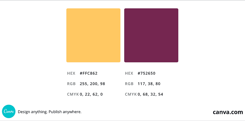 A screenshot of cantaloupe orange and mulberry purple squares side-by-side as an example of triadic colors.