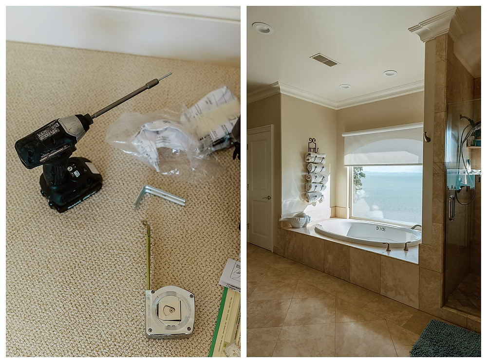 Left: A drill sits upright on a cream-colored carpet with a nail attached to the bit. Around the drill are scattered a partially-extended measuring tape, brackets, and other parts. Right: In a tiled, fawn-colored bathroom, light pours in through the window and spills onto the large oval built-in tub and towels sitting on a wrought-iron rack.