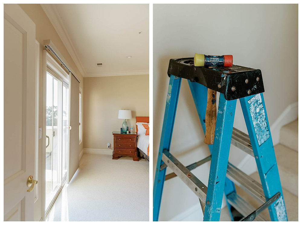 Left: A white bathroom door with a gold handle opens into a beige-walled bedroom. The slide-vue shade is pulled back from the sliding glass door, allowing light to spill into the room. A nightstand sits next to the bed, with a sea-green lamp and white lampshade. Right: A trim-color yellow, black, and red hammer sits on a short blue ladder in a beige-walled bedroom next to the stairs.