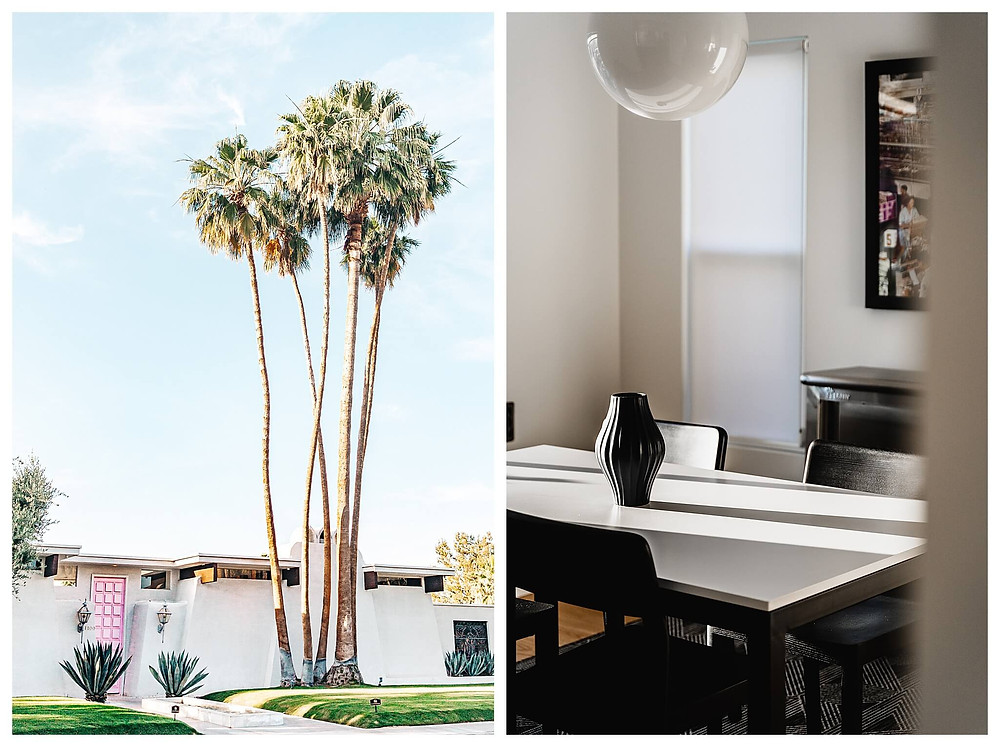 Left: A white, single-story mid-century house is accented by a bright pink door and a cluster of towering palm trees against a clear blue sky. Right: The camera peeks into a dining room. Light spills from the left window onto the white table, which is surrounded by black chairs. The furniture embodies the mid century style with clean, simple, functional lines and forms.