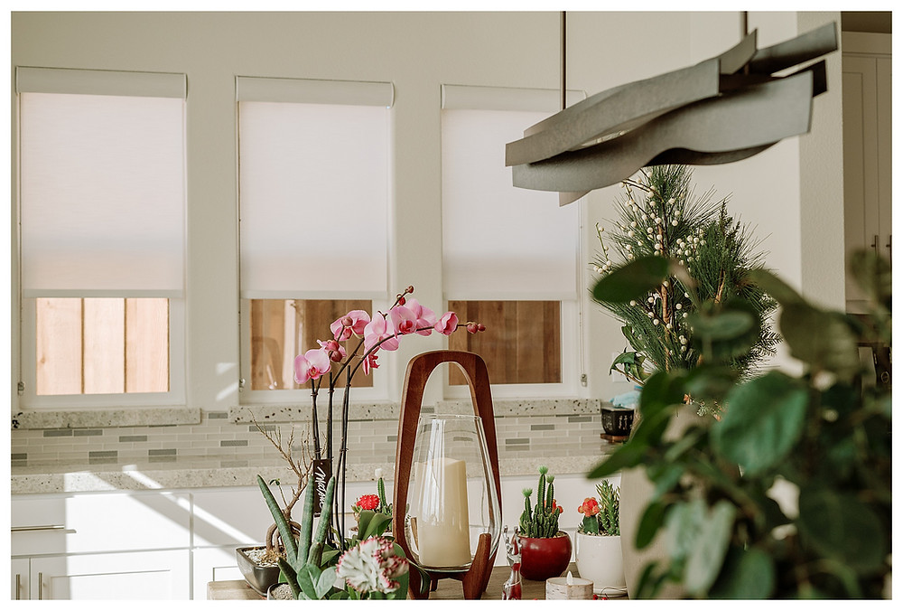 Sheer white roller shades cover three symmetrical kitchen windows. A flowering pink orchid catches the eye in the foreground.