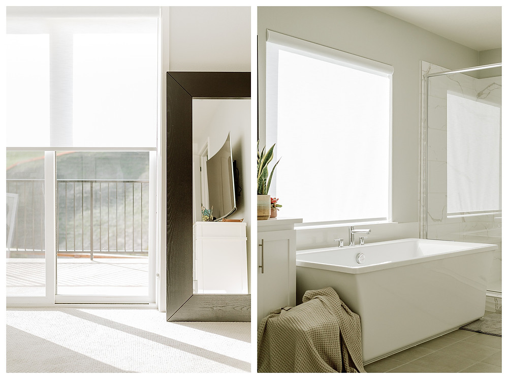Left: A sliding glass door that leads to a second-floor balcony is now covered by a roller shade, which has been raised halfway. Light pours through the window and casts a shadow on the carpet. Right: A newly installed sheer white roller shade softens the light coming through the window, falling on the white bathtub in the neutral, beige-colored bathroom.